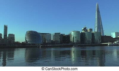 Office buildings along the River Thames. - London. England....