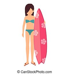 woman character with surf board vector illustration design