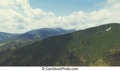 360 degree view Flight in Carpathian mountains. Turn Left....