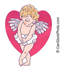 Valentine's day. Confused Cupid-boy cloud pants with heart...