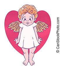 Valentine's day. Confused Cupid-girl with gold wings and...