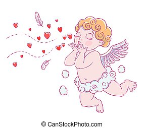 Valentine's day. Cupid-boy in cloud pants and blowing kisses...
