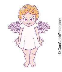 Valentine's day. Confused Cupid-girl in dress. Vector...