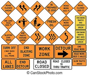 Road signs in the United States. Work Zones, Barricades,...