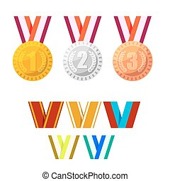 Set of champion medals gold, silver and bronze.