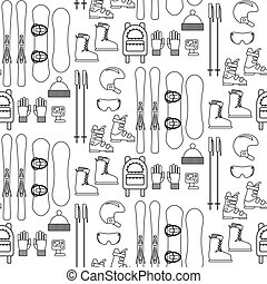 Ski and snowboard line equipment seamless pattern.