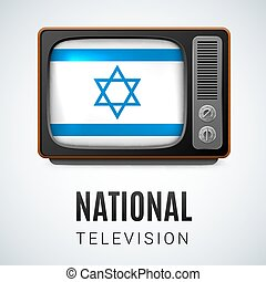 National Television - Vintage TV and Flag of Israel as...