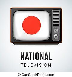 National Television - Vintage TV and Flag of Japan as Symbol...