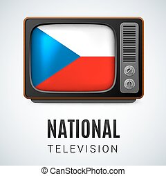 National Television - Vintage TV and Flag of Czech Republic...