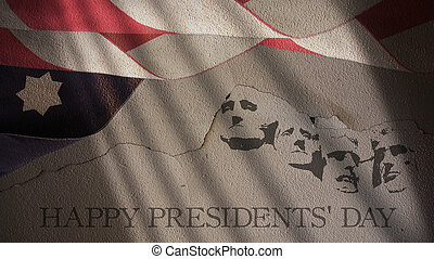 Happy Presidents Day. America Flag and Mount Rushmore