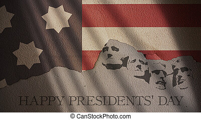Happy Presidents Day. Usa Flag and Mount Rushmore