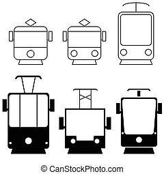 tramway set in black color illustration - tramway set in...