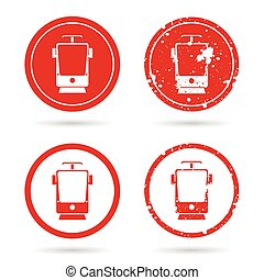 tramway set in red color illustration - tramway set in red...