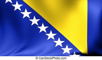 Bosnia and Herzegovina Flag. Background Seamless Looping Animation. 4K High Definition Video.