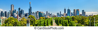 Panorama of Melbourne from Kings Domain parklands -...