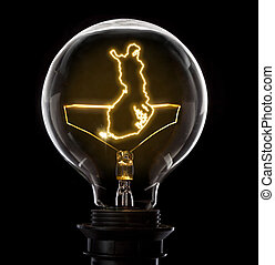 Lightbulb with a glowing wire in the shape of Finland...