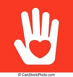 white hand with heart - Icon flat red hand with heart. Heart...