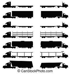 trucks vehicle set in black color illustration