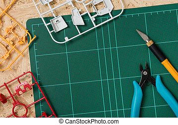 Hobby background, assembling the plastic model kits