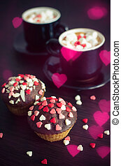 Coffee and cupcakes with small hearts - Two cup of coffee...