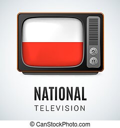 National Television - Vintage TV and Flag of Poland as...