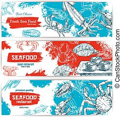 Fresh seafood and fish food sketch banners - Seafood sketch...
