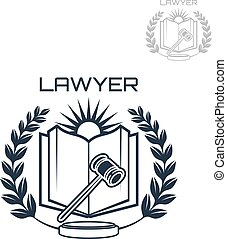 Lawyer vector emblem of wreath, book and gavel - Lawyer or...