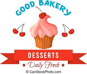 Dessert vector icon or emblem of cake or tart - Pastry cake...