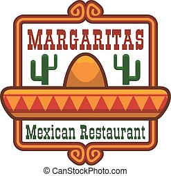 Mexican restaurant vector icon or emblem - Mexican cuisine...