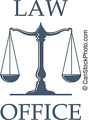 Law office vector icon with Scales of Justice - Law or...