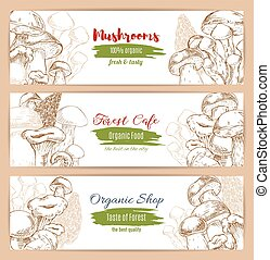 Mushrooms organic shop vector sketch banners - Mushrooms...