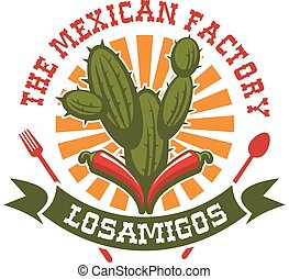 Mexican restaurant vector isolated icon - Mexican cuisine...