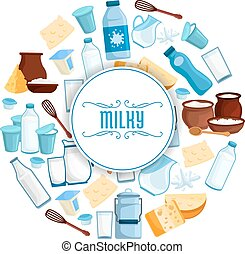 Milk and dairy products vector poster - Milky products...