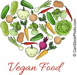 Vegan food heart poster of vegetables - Vegetables and...