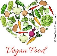 Vegan food heart poster of vegetables - Vegetables and...