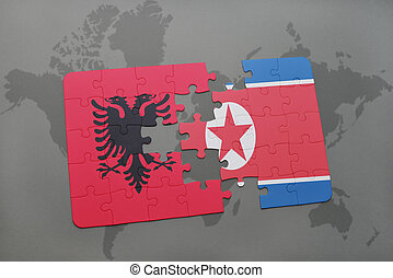 puzzle with the national flag of albania and north korea on...