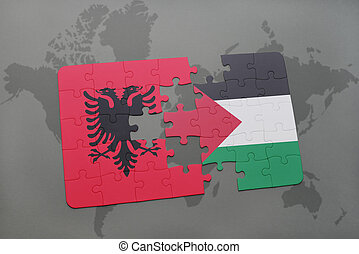puzzle with the national flag of albania and palestine on a...
