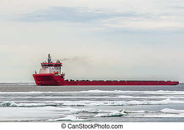 support vessel for oil platforms in the ice of the Arctic