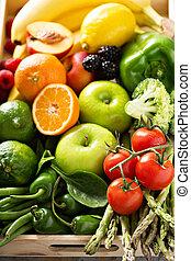 新鮮, 蔬菜, 鮮艷, 水果