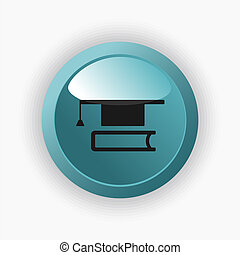 Mortarboard with book icon on a blue button
