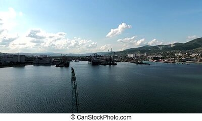 Industrial seaport, top view. Port cranes and cargo ships...
