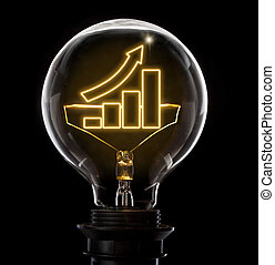 Lightbulb with a glowing wire in the shape of a growing bar chart (series)