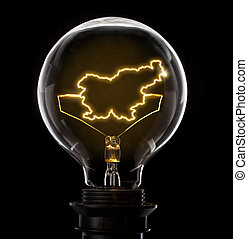 Lightbulb with a glowing wire in the shape of Slovenia...
