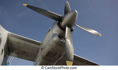 Turbo-propeller engine of passenger plane with feathering elements.