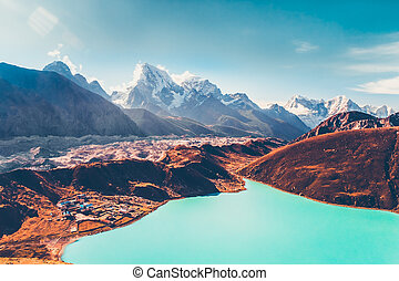 Himalayas. View from Gokyo Ri, 5360 meters up in the...