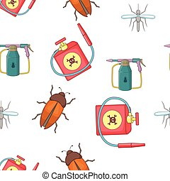 Harmful insects pattern, cartoon style