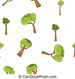 Types of trees pattern, cartoon style - Types of trees...