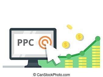 Pay Per Click internet marketing concept - flat vector...