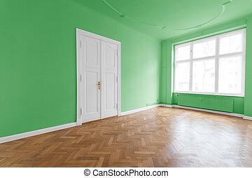 Apartment interior, green walls
