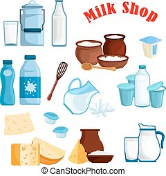 Milk shop and dairy products vector isolated icons - Dairy...